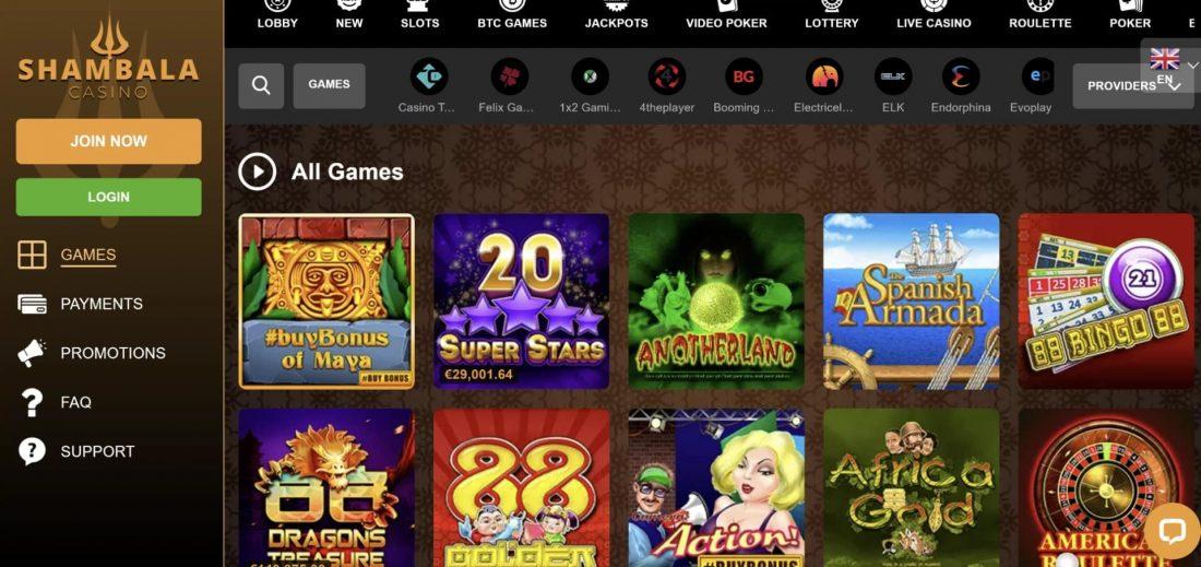 Shambala Casino Games