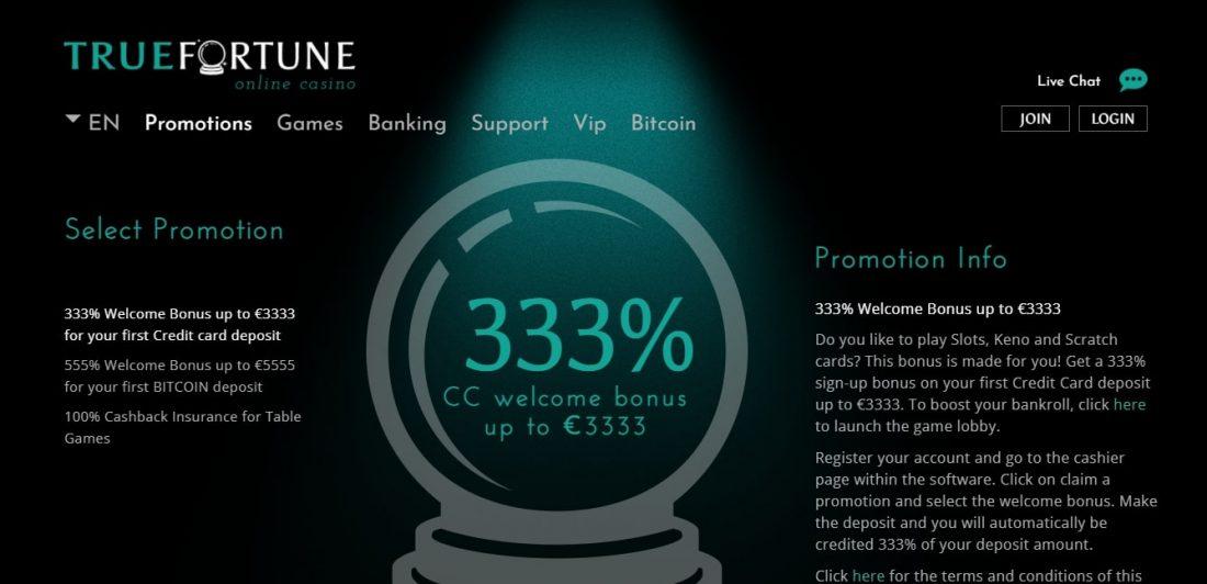True Fortune Casino Welcome Bonus
